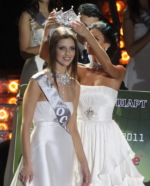Natalia Gantimurova, winner of Miss Russia 2011, is crowned during the final of Miss Russia pageant in Moscow, Russia, March 5, 2011.