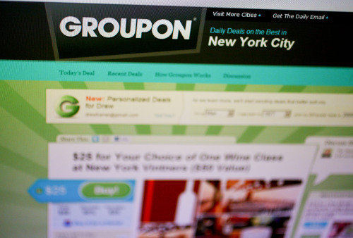 The Groupon website is displayed on a computer monitor. (Bloomberg)