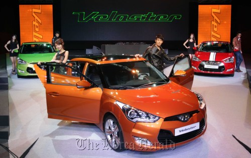 Hyundai Motor Co. launches its new compact passenger vehicle, the Veloster, in Seoul on Thursday. (Hyundai Motor Co.)