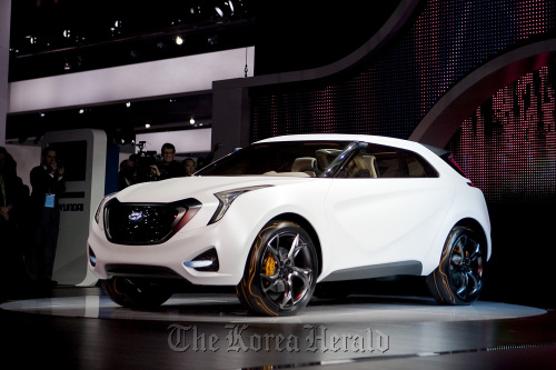 Hyundai Motor Co.'s Curb (HCD-12) concept vehicle is displayed at the North American International Auto Show in Detroit on Jan. 10. (Bloomberg)