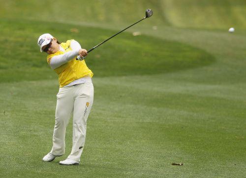 Korea's Shin Ji-yai plays a shot on the third hole during the third round of the Kia Classic. (AFP-Yonhap News)