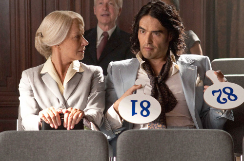 """Helen Mirren as Hobson and Russell Brand as Arthur in Warner Bros. Pictures' romantic comedy """"Arthur."""" Courtesy of Barry Wetcher/Warner Bros. (Pictures/MCT)"""