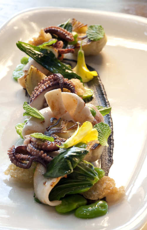 Monterey squid is served with smoked lentil, artichoke and blood orange at Plum in Oakland, where the menu changes daily. (Los Angeles Times/MCT)