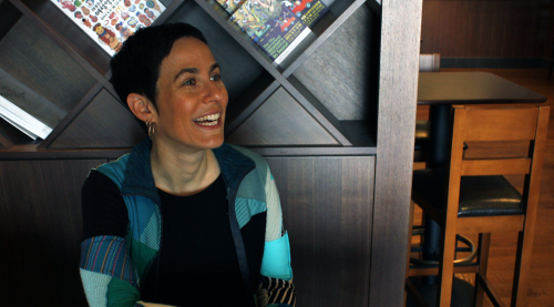"Canadian animation director Shira Avni talks about her animated documentary, ""Trying Your Own Shoes,"" which has been officially invited to this year's International Women's Film Festival in Seoul, at a cafe in Seoul, April 12. (Claire Lee/The Korea Herald)"