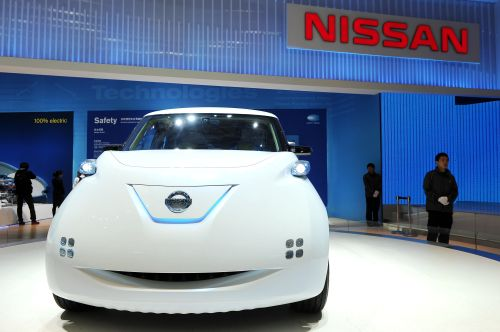 Nissan's zero-emission car the Townpod is displayed at the Shanghai Auto Show in Shanghai on Tuesday. (AFP-Yonhap News)