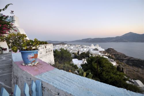 The sunset seen from the hilltop village of Plaka on the Greek island of Milos. (AP-Yonhap News)