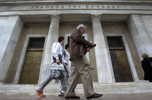 The Bank of Greece in central Athens on Tuesday. (AP-Yonhap News)