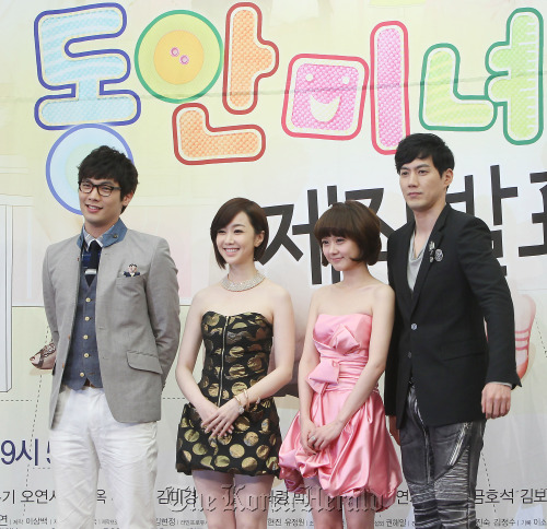 "The cast of KBS' ""Baby-faced Beauty"" ― (From left to right) Choi Daniel, Kim Min-seo, Jang Nara, Ryu Jin ― attends a press conference in Seoul on Wednesday. (Yonhap News)"