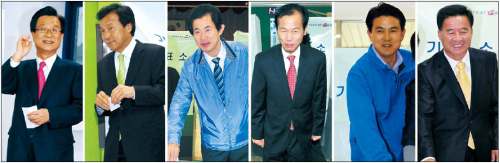 Voters cast ballots Wednesday in 38 constituencies nationwide. (From left) Kang Jae-sup of the ruling Grand National Party and Sohn Hak-kyu of the main opposition Democratic Party in Bundang-B; Ohm Ki-young of the GNP and Choi Moon-soon of the DP in Gangwon Province; Kim Tae-ho of the GNP and Lee Bong-soo of the People's Participation Party in Gimhae-B. (Park Hyun-koo/The Korea Herald)