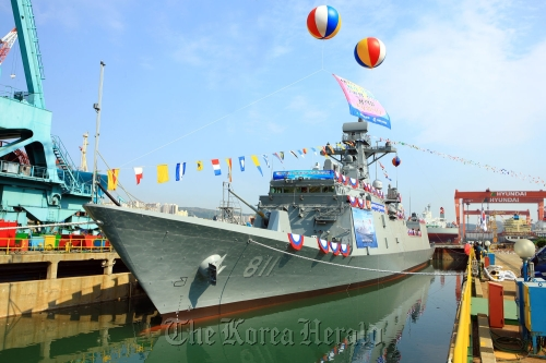 The new 2,300-ton frigate Incheon is launched at a shipyard of its builder, Hyundai Heavy Industries Co., in Ulsan on Friday. Hyundai Heavy Industries Co.The new 2,300-ton frigate Incheon is launched at a shipyard of its builder, Hyundai Heavy Industries Co., in Ulsan on Friday. (Hyundai Heavy Industries Co.)