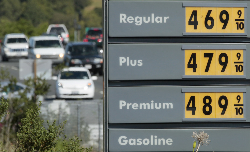 A price board is shown at a Shell gas station in Novato, California on Thursday. (AP-Yonhap News)
