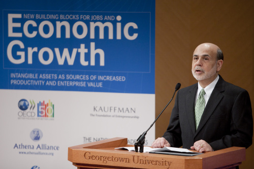 Ben S. Bernanke, chairman of the U.S. Federal Reserve, speaks at Georgetown University in Washington, D.C. on Monday. (Bloomberg)