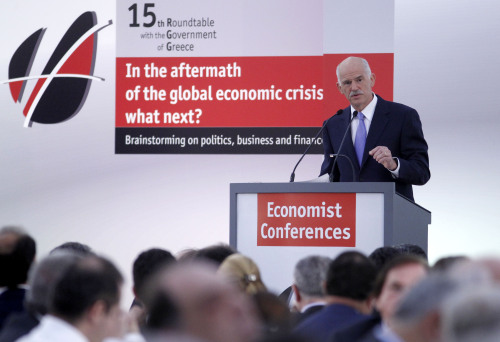 Greece's Prime Minister George Papandreou speaks during an Economist conference in Lagonissi, Athens on May 17. (AP-Yonhap News)