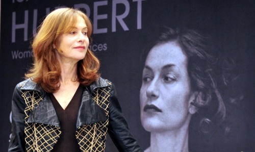 Isabelle Huppert at the press conference held on Thursday at The Museum of Photography in eastern Seoul. (Lee Sang-sub/The Korea Herald)