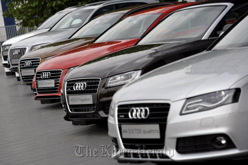 A line of Audi AG automobiles on display during the company's annual general meeting in Neckarsulm, Germany. (Bloomberg)