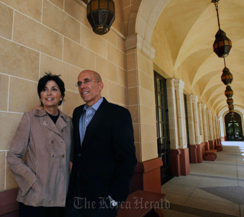 Marilyn and Jeffrey Katzenberg, CEO of DreamWorks Animation, stand outside the Marilyn and Jeffrey Katzenberg Center for Animation at the University of Southern California's School of Cinematic Arts on the USC campus in Los Angeles, California. (MCT)