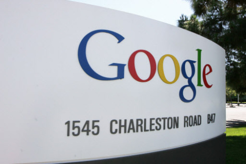 The logo of internet search engine company Google at the headquarters in Mountain View in Silicon Valley, south of San Francisco. (AFP-Yonhap News)