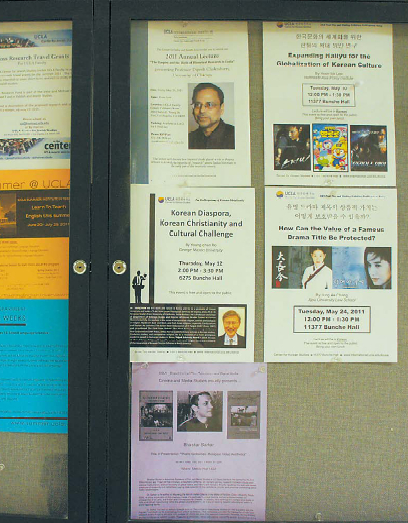 A bulletin board near the UCLA Center for Korean Studies showsannouncements on Korean Studies and culture related talks.(Park Min-young/The Korea Herald)