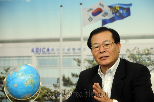 President of the Korea International Cooperation Agency Park Dae-won speaks in a recent interview with The Korea Herald. (Park Hae-mook/The Korea Herald)