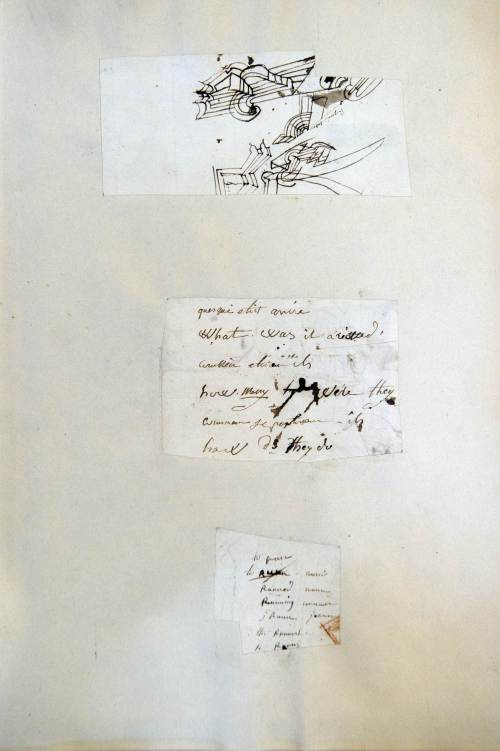 A fragment of a sketch by Emperor Napoleon and English and French sentences written from 1816 on the island of St. Helena seen in Fontainebleau, south of Paris.(AFP-Yonhap News)