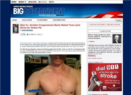 This captured page from the website Biggovernment.com shows photo of a shirtless U.S. Representative Anthony Weiner which was allegedly emailed to a young woman.