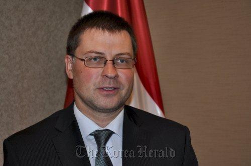 Latvia Prime Minister Valdis Dombrovskis. (Yoav Cerralbo/The Korea Herald)
