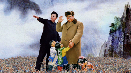 """A North Korean propaganda painting of late leader Kim Il-sung (right) and his son Kim Jong-il as seen in """"Kimjongilia,"""" an American documentary on 12 North Korean defectors and their stories. (Cracker Pictures)"""