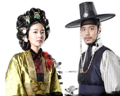 Park Sol-mi(left) and Han Jae-seok in traditional costumes for the KBS drama