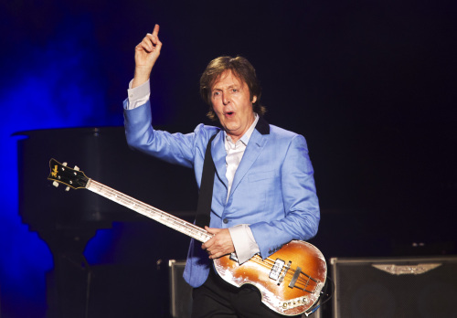 Music legend Paul McCartney performs in Rio de Janeiro, Brazil, last May. (AP-Yonhap News)