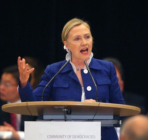 U.S. Secretary of State Hillary Clinton delivers a speech on Friday in Vilnius, Lithuania.(AFP-Yonhap News)