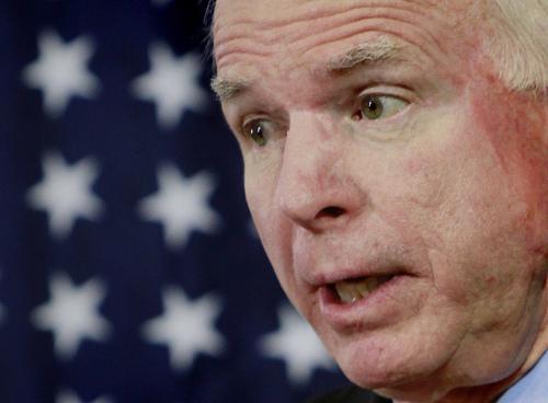 U.S. Senator John McCain, speaks during a press conference in Kabul, Afghanistan on Sunday. (AP-Yonhap News)