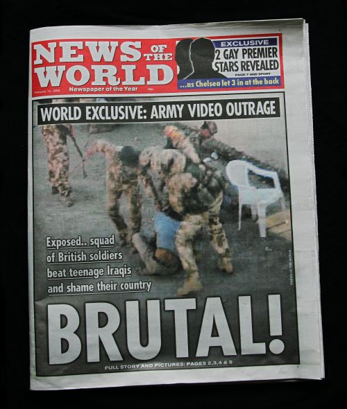 A copy of the front page of Britain's News of the World newspaper in London. (AFP-Yonhap News)