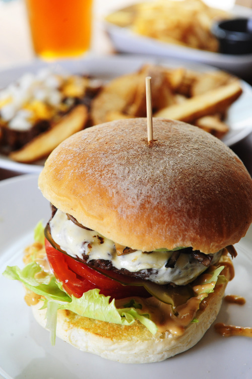 Swiss cheese adorns Burger B's succulent mushroom burger(Park Hae-mook/The Korea Herald)