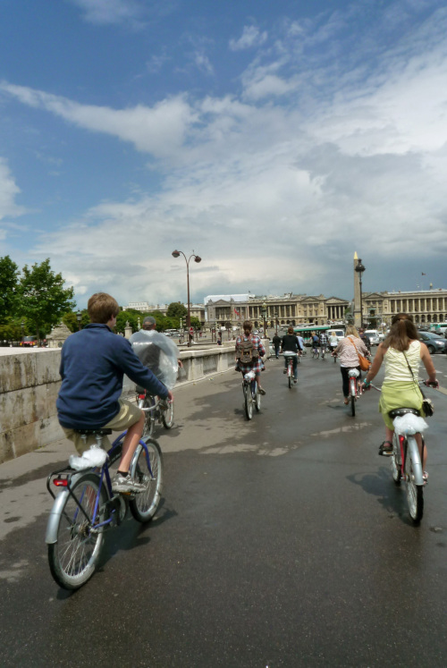 Riders head toward Place de la Concorde, where the revolutionary guillotine once stood in Paris. (Fort Worth Star-Telegram/MCT)