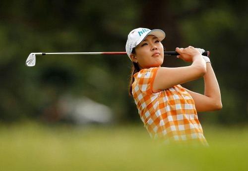 Korea's Seo Hee-kyung hits her tee shot on the 12th hole at the U.S. Women's Open on Sunday. (AFP-Yonhap News)