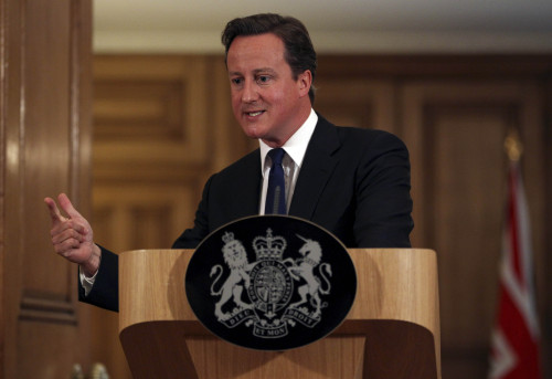 Britain's Prime Minister David Cameron gestures during a press conference London on Friday. (AP-Yonhap News)
