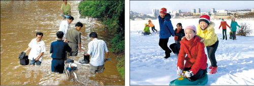 The left photo provided by North Korea's state-run KCNA is believed to have been fabricated to exaggerate flooding. Experts suspect fabrication because of the way people's legs neatly enter the water with their pants appearing completely dry above the water. Theright image, released by the KCNA this January, also has signs of manipulation. It is supected that four children in the backgroundhave been artificially inserted into the photo. (Yonhap News)