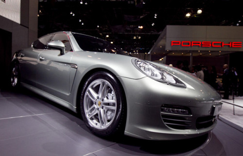 A Porsche AG Panamera Hybrid vehicle sits on display at the New York International Auto Show in New York. (Bloomberg)