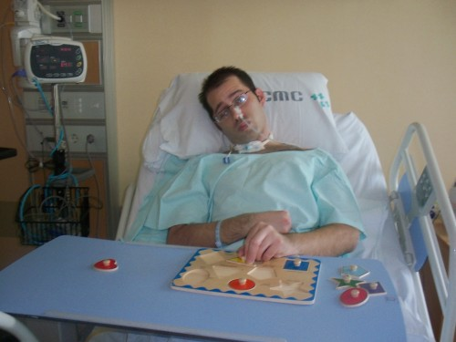 Wes Putman in shown in therapy in Seoul after being hit by a taxi.