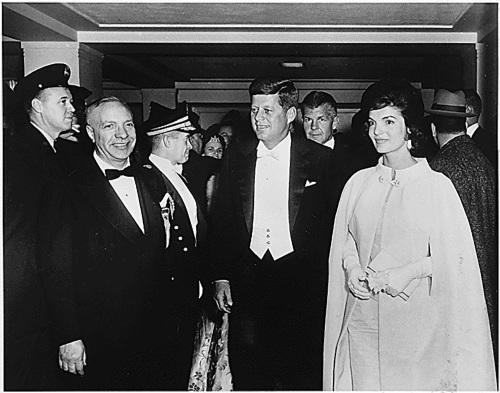 Former U.S. President John F. Kennedy and first lady Jacqueline Kennedy arrive at an inaugural ball at the National Guard Armory in Washington, D.C., January 20, 1961.(MCT)