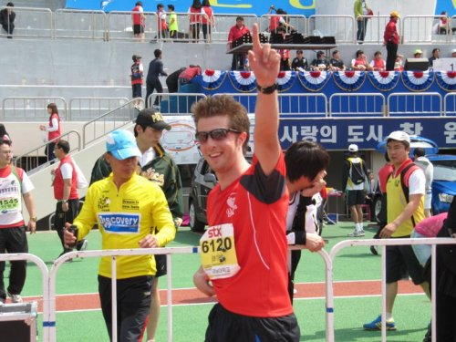 Joe Riley completes a previous run in Korea.