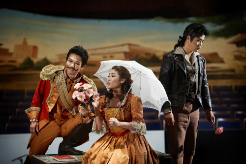 """Young performers from Chugye University for the Arts practice a scene from Gaetano Donizetti (1797-1848)'s 1382 opera """"L'Elisir D'amore."""" (Seoul Arts Center)"""