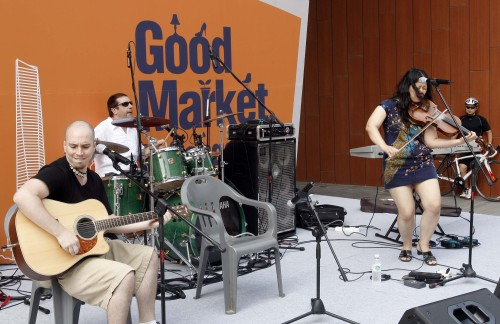 An expat band entertains the crowd. Good Market in Songdo