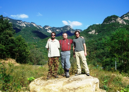 "Mason at Woraksan National Park with the co-authors of ""Baekdu-daegan Trail Guidebook: Hiking Korea's Mountain Spine,"" Roger Sheperd (left) and Andrew Douch, when he met them during their expedition for the book in 2007. (Lourdes E. Mason)"