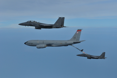 Korean Air Force fighters engage in an aerial refueling exercise with the help of the U.S. military in the country's airspace over the West Sea last week. (Air Force)