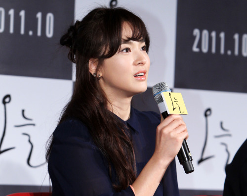 Actress Song Hye-gyo speaks (poses for a photo) during a press conference promoting her upcoming film,