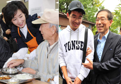Na Kyung-won (left photo) and Park Won-soon (right photo) meet voters. (Yonhap News)