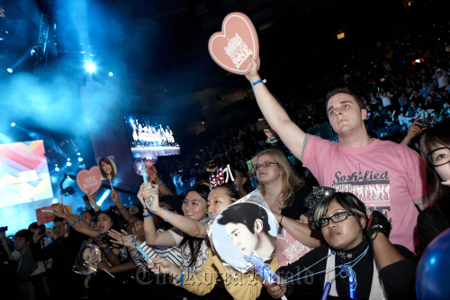 Fans cheer at the SM Town Live World Tour at the Madison Square Garden in New York City on Sunday. (S.M. Entertainment)