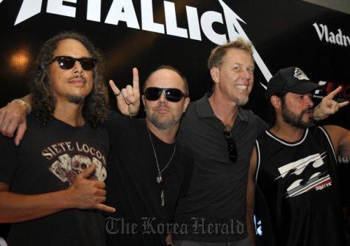 Metallica members (from left): Kirk Hammett, Lars Ulrich, James Hetfield and Robert Trujillo. (AP/Tsering Topgyal-Yonhap News)