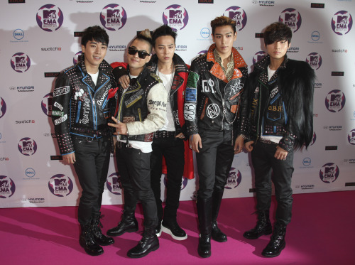 South Korean Pop group Big Bang arrive at the MTV European Music Awards 2011, in Belfast, Northern Ireland Sunday, Nov. 6, 2011. (AP)